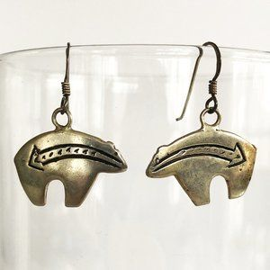 Jewelry - Antique Sterling Silver Zuni Bear Earrings